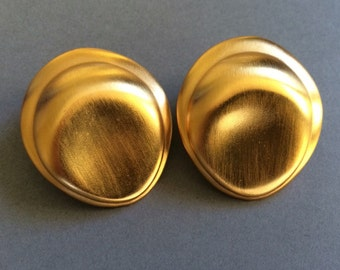 Luscious Large Abstract Chunky Smooth Mat Burnished Gold Tone Metal Pierced Earrings