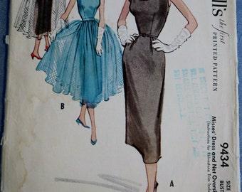 Misses Dress Pencil Skirt Overskirt Net Formal Dress Sewing Pattern Vintage McCalls 9434