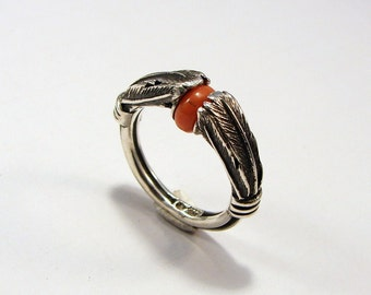 """Sterling Silver / Coral Ring : """" Native Feathers """""""