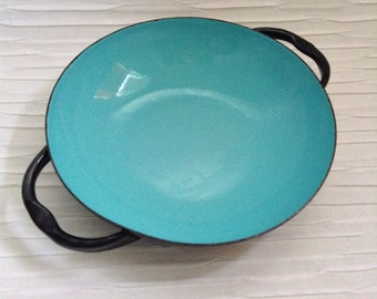 Vintage Enamel on steel Small Bowl or pan.  Caravelle.  Made in France.   Mid Century Modern, Eames Panton era. Danish Modern, 1960's.