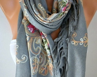 Gray Embroidered Scarf,Wedding Shawl, bohemian,Bridesmaid Gift, Bridal Scarf,Gift Ideas For Her, Women Fashion Accesssories,Oversized