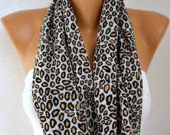 Leopard Print Infinity Scarf Spring Summer Scarf Animal Chiffon Circle Loop Scarf Cowl Scarf Gift Ideas For Her  Women Fashion Accessories