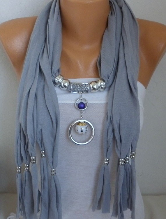 Silver Gray Necklace Scarf,Jewelry Scarf, Pendant Combed Cotton Scarf,Lariat,Gift Ideas For Her,Women Fashion Accessories, Christmas Gifts