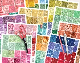 Planner Stickers Printable, Glitter Planner Stickers, Monthly Planner Stickers, Printable Digital
