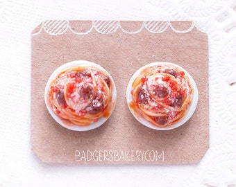 Miniature SPAGHETTI Stud Earrings, Food Jewelry, Polymer Clay Meatballs Tomato Pasta