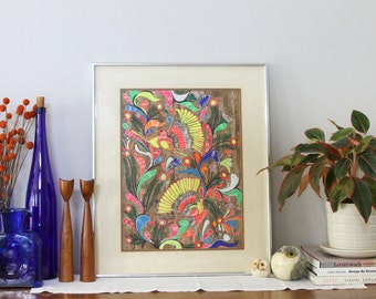 Large Framed Mexican Folk Art Painting - Neon Painting - Birds and Flower Painting - Original Art Painting