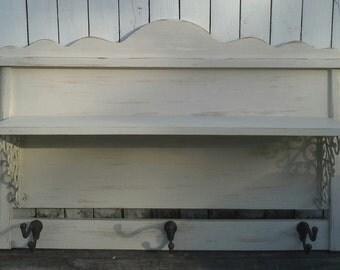 Shelf, Large Headboard Shelf, Coat Rack, Shelf with Hooks, Farmhouse, Rustic Home, Shabby Cottage Chic, Nursery, Entryway, Mud Room