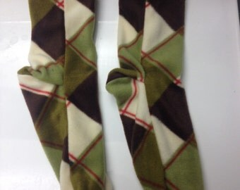 Mens Large Fleece Socks in Green and Brown Plaid