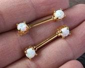 White Opal Gold Nipple Ring Nipple Piercing Nipple Jewelry