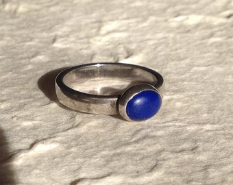 Sterling Silver and Lapis Lazuli Ring Artisan Made