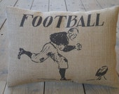 Football Player Burlap Pillow, Vintage Football, Sports, INSERT INCLUDED