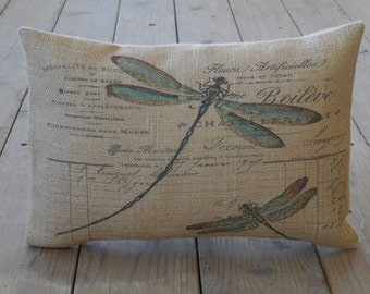 French Dragonfly Burlap Pillow, Shabby Chic, INSERT INCLUDED