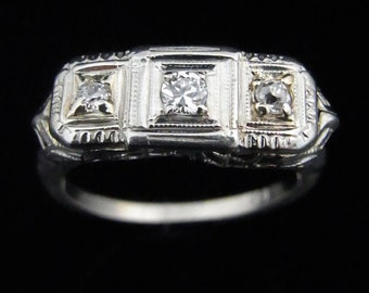 Art Deco Transition & Old European Cut Diamonds 14k White Gold Ring Antique LAYAWAY Available