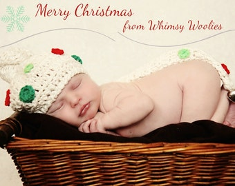 Holiday Crochet Hat Pattern: 'Winters Tale' Christmas Baby Beanie, Photo Prop