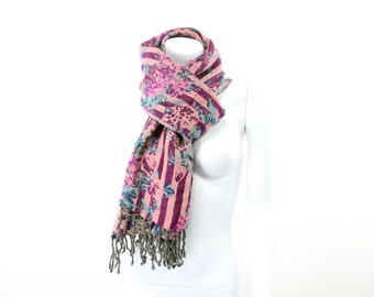 throw-shawl-wrap-floral-jacquard-victorian-turquoise-magenta-brown-teal-double sided-pure wool-striped-floral-english-chintz-roses