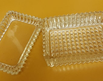 Vintage Pressed Glass Card Box