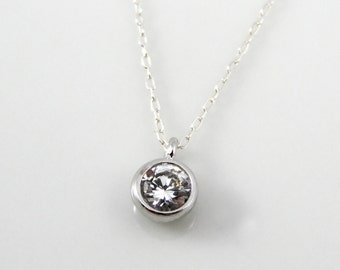 Cubic zirconia solitaire necklace on sterling silver chain, tiny CZ pendant, single diamond necklace
