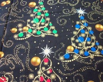 Gorgeous Christmas Trees Fabric Colorful Gold Metallic Throughout on Black Background BTFQ By Fat Quarter New