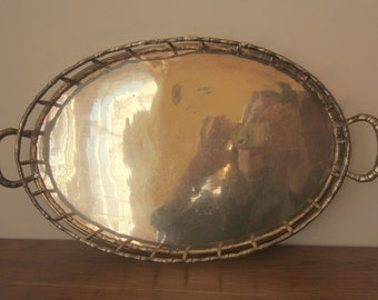 Summer entertaining 1970s style.  Brass faux bamboo large oval tray.