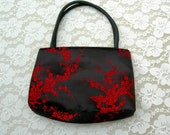 Stunning Small Dressy Chinese Handbag, red cherry blossoms on black silk