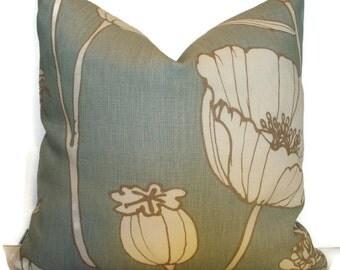 Thom Filicia Poppyfield Blue Poppy Pillow Cover Kravet Poppyfield Blue Linen Pillow Cover                          1-18, y1.86m
