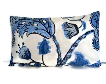 Blue Linen Pillow Wilmington Cabana Blue Pillow Cover Blue Floral Pillow Cover 1-10x16 1-18,