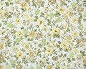 Vintage Wallpaper by the Yard 60s Retro Wallpaper - 1960s Yellow Green and Tan Petite Flowers on White