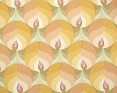 Vintage Wallpaper by the Yard 70s Retro Wallpaper – 1970s Mod Yellow and Orange Flowers