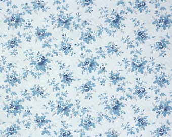 Retro Wallpaper by the Yard 70s Vintage Wallpaper - 1970s Blue and White Roses