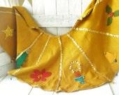 Vintage Christmas tree skirt felt applique homemade butterscotch gold trim