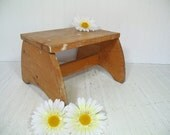 Primitive Oak Wood Foot Stool - Vintage Painters Sturdy Step Stool - Petite Chippy Honey Color Wood Step Seat - Paint Spattered Wooden Bench