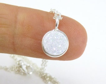 Tiny Rainbow Druzy Quartz Bezel Necklace... Entirely Sterling Silver... Delicate Minimalist Jewelry