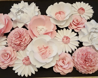 Set of 15 Medium Paper Flowers - Rose Poppy Peony Mum - Decor Backdrop