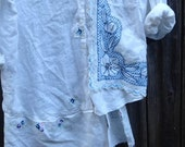 rustic autumn blue white linen lace gypsy vintage lace country boho chic shabby prairie fashion tunic shirt