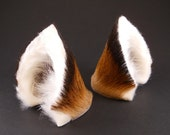 Brown Black White Fur Leather Fox Wolf Dog Ears Inumimi Kitsune Fairy Cosplay Furry Goth Fantasy LARP Costume Pet Play