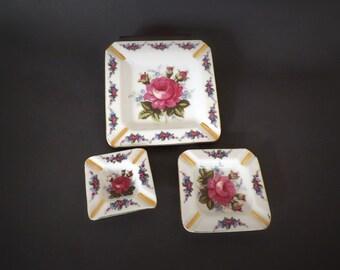 Vintage Nesting Ashtray Set with Shabby Roses, Tobacciana, Vintage Decor, Decorative Ash Tray Set, China Knicknack Decor, Floral Decor