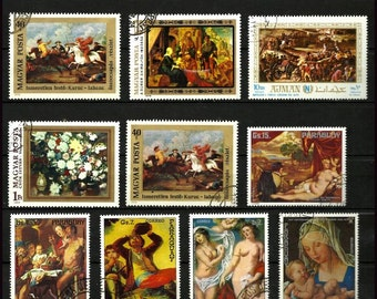 Fine Art Postage Stamps, portrait stamps to collect or use for crafts