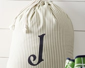 Monogrammed Striped Laundry Bag