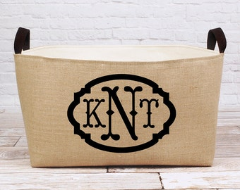 20% OFF! XL Monogrammed Burlap Bin - spacious rustic storage customized just for you!