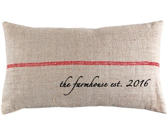 Farmhouse Grain Sack Lumbar Pillow