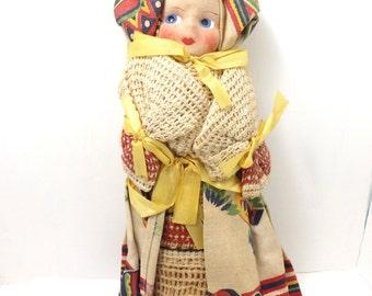 Guatemala doll, costume doll, guitars, cloth face