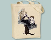 A Girl and Her Cat Vintage Illustration Canvas Tote - Selection of sizes available