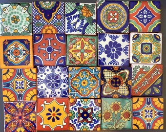 "4 Mexican Talavera Fridge Magnets measuring 2""x2""  (set of 4"