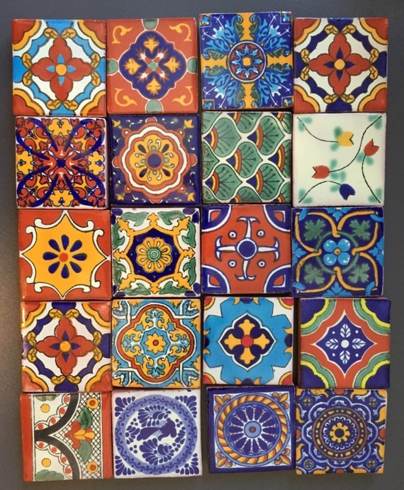 "Fridge Magnets Talavera ceramic Fridge Magnets 2"" square tiles  (set of 6)"