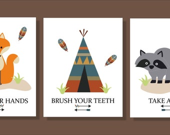 Fox, Raccoon, Woodlan  Creatures,  Bathroom Wall Art, Typography, Bathroom decor- Set of three prints
