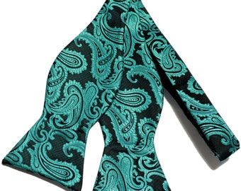 New Micro Fiber Men's Paisley Green Black Self-Tie Bow tie only, Formal Occasions (Z)