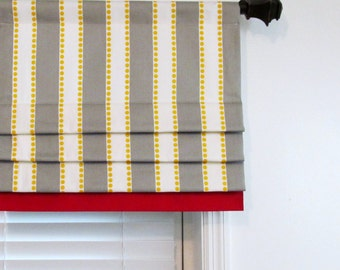 Custom Made Mock Valance Faux Roman Shade Valance Lulu Stripe Twill Storm Grey/Yellow  with Lpstick Red Border Window Treatments