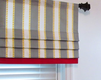 Custom Made Mock Valance Faux Roman Shade Valance Lulu Stripe Twill Storm Grey/Yellow  with Lpstick Red Border