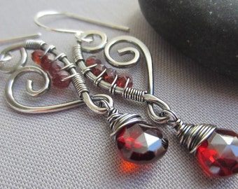 SALE 20% OFF/ Garnet Earrings/ Silver Earrings/Garnet Heart Earrings/Artisan Earring/Silver Wire earrings/January Birthstone/ Garnet