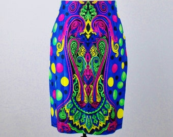 Vintage GIANNI VERSACE RUNWAY Moroccan Print High Waisted skirt  Jewel tone Vivid Colors Rare 1991 Size 42